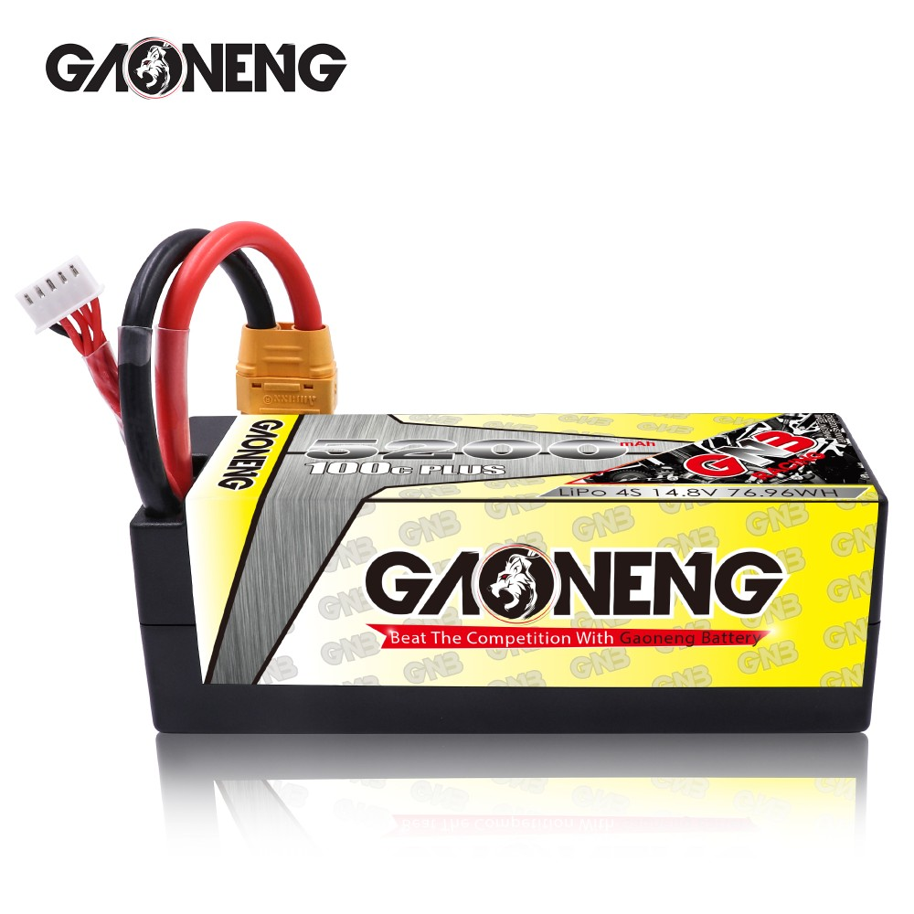 GNB GAONENG LiPo Battery 5200MAH 4S1P White Balance 14.8V 100C PLUS hardcase cabled with Red T-PLUG GNB65003S110WP