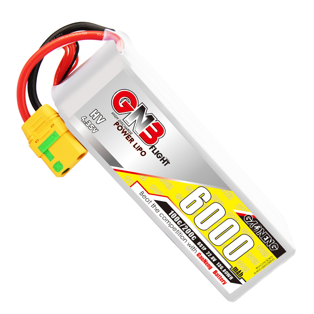 GNB GAONENG LiPo Battery 6000MAH 6S1P White Balance 22.8V 100C PLUS cabled with Red T-PLUG
