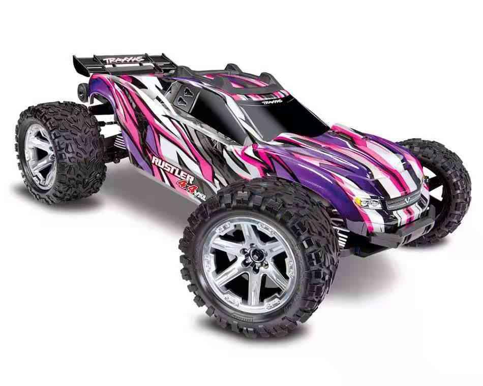 Traxxas-Rustler-4X4-VXL-Electric-Brushless-RTR-1/10-4WD-Stadium-Truck-(Pink)-w/TQi-2.4GHz-Radio-&-TSM-System