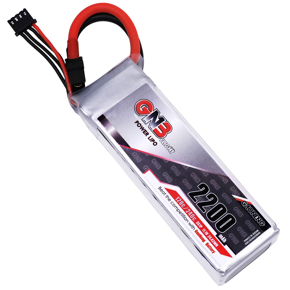 GNB GAONENG LiPo Battery 2200MAH 3S1P White Balance 11.1V 120C PLUS cabled with Red T-PLUG