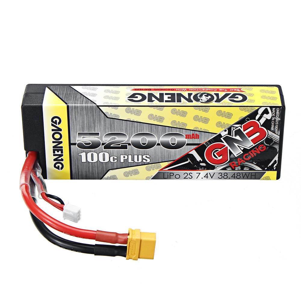 GNB GAONENG LiPo Battery 5200MAH 2S1P White Balance 7.4V 100C PLUS hardcase cabled with Red T-PLUG