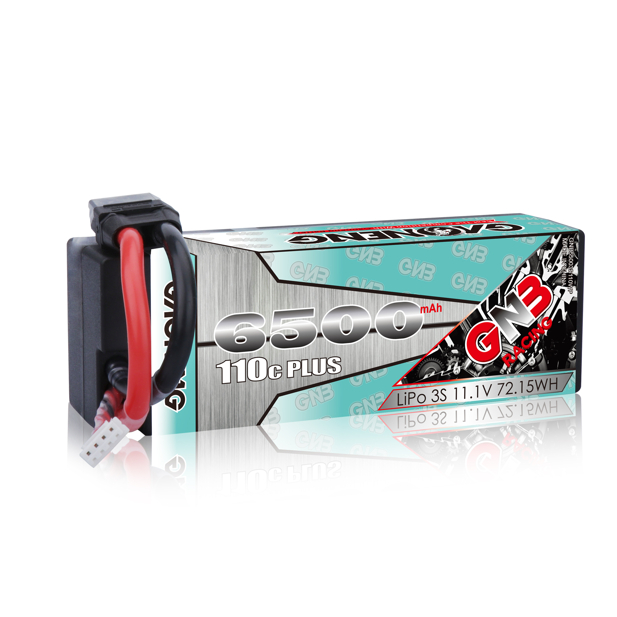 GNB GAONENG LiPo Battery 6500MAH 3S2P Black Balance 11.1V 110C PLUS hardcase cabled with Red T-PLUG