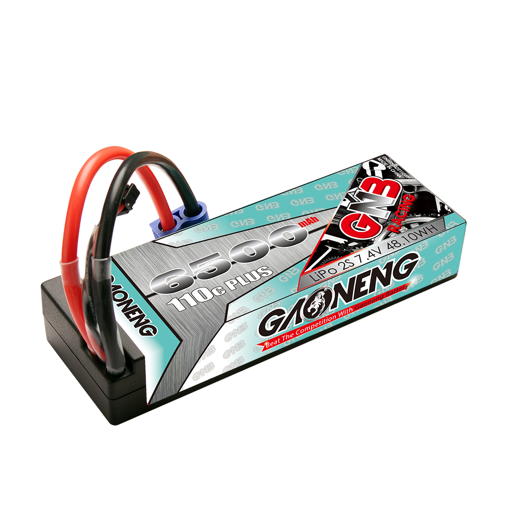 GNB GAONENG LiPo Battery 6500MAH 2S2P Black Balance 7.4V 110C PLUS hardcase cabled with Red T-PLUG